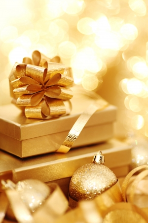 festive occasions: golden christmas background gifts ball