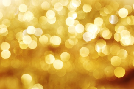 blurry lights: golden bokeh background close up Stock Photo