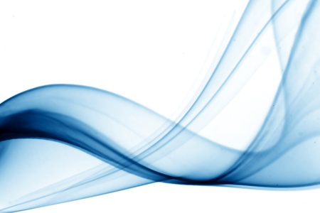 dynamic movement: humo azul sobre fondo blanco Foto de archivo