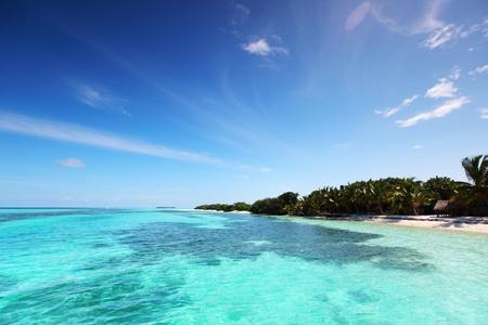 tropical island in blue sea photo