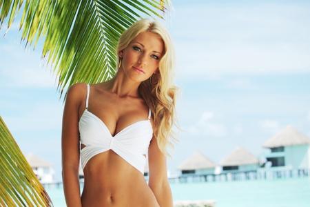 swimsuit model: woman in bikini under palm on sea background Stock Photo
