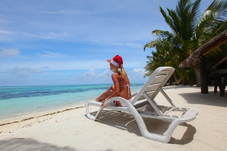 santa girl vacation in longue Stock Photo - 11030619