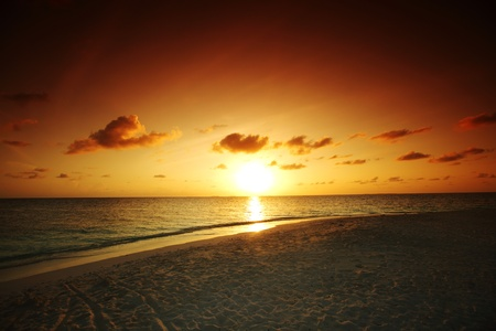 sunset on the sea beach photo