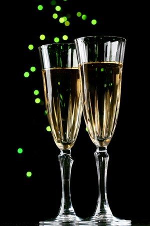 holiday card golden champagne and gift Stock Photo - 11033593