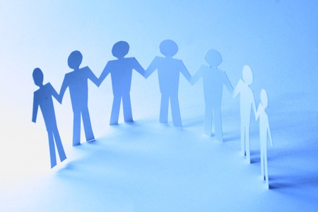 paper team linked together partnership concept Stock Photo - 11033511