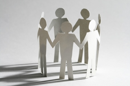 cooperativismo: equipo de trabajo vinculados concepto de asociación Foto de archivo