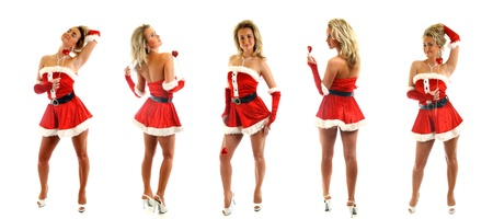 santa girl posing on white background collect photo