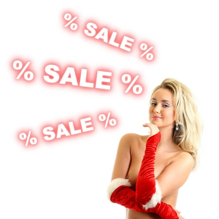 nude santa girl show christmas sales Stock Photo - 11072861