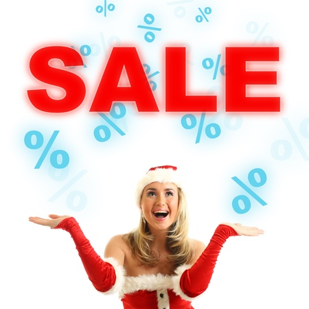happy santa girl drop in air sale signs Stock Photo - 11072831