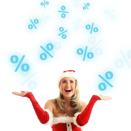 happy santa girl drop in air sale signs photo