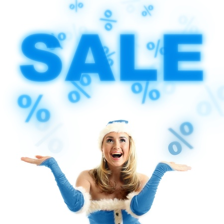 happy santa girl drop in air sale signs Stock Photo - 11072859