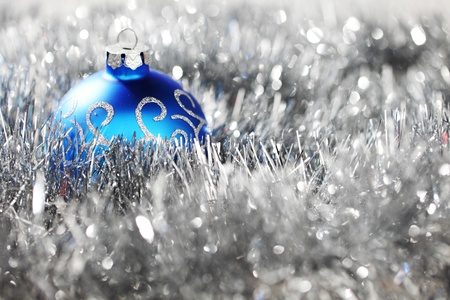 blue christmas ball on silver background Stock Photo - 11084217