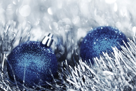 blue christmas ball on silver background photo
