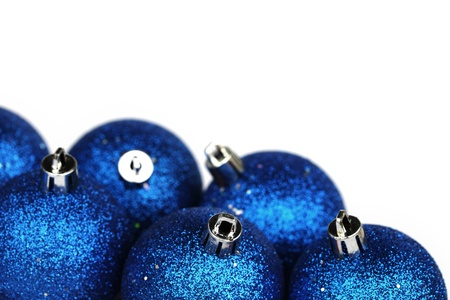 blue christmas balls isolated on white photo