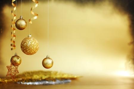 golden christmas balls on bokeh background Banco de Imagens