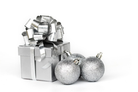 silver gift isolated on white photo