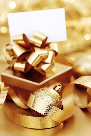golden christmas background gifts ball Stock Photo - 11084357