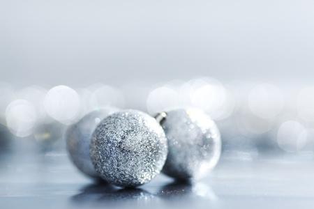 silver christmas ball macro close up Stock Photo - 11084430