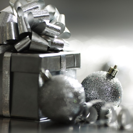 silver christmas card  macro close up photo