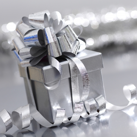 silver christmas gift macro close up photo