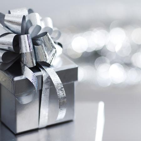 silver christmas gift macro close up photo