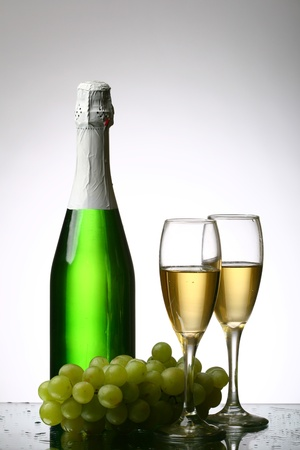 champagne grape and green bottle Stock Photo - 11125553