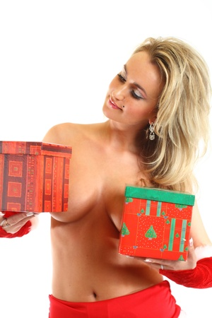 dona: Santa atractivo hide chica detrás caja de regalo