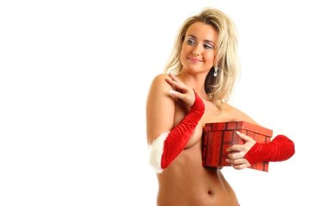 sexy santa girl hide behind gift box Stock Photo