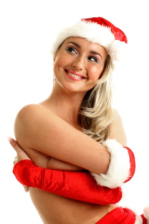 nude santa girl hide behind hands photo