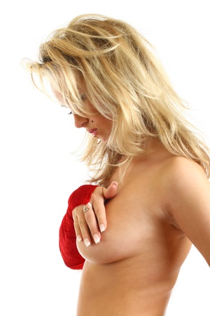 señora: nude piel de santa chica detrás de las manos