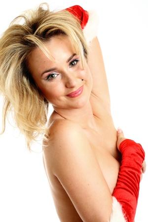 nude santa girl hide behind hands photo