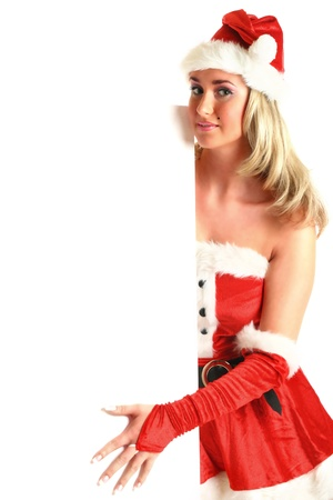 mrs: pin-up santa girl hold in hands christmas empty blank