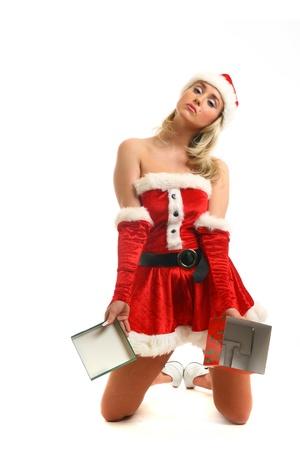 dona: pin-up girl de santa no tiene caja de regalo vacía