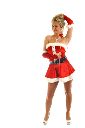 santa girl isolated on white background Stock Photo