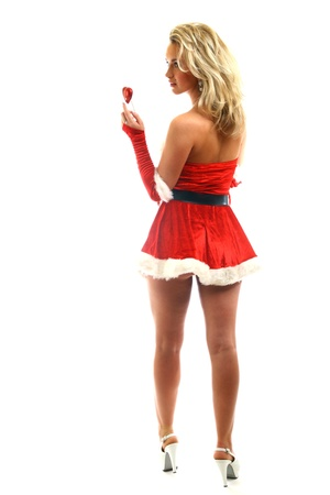 santa girl isolated on white background Stock Photo - 11124026