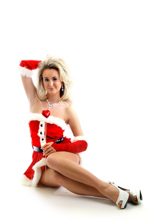 santa girl isolated on white background photo