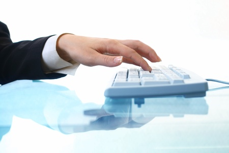 hands work on keyboard white background Stock Photo - 11146060