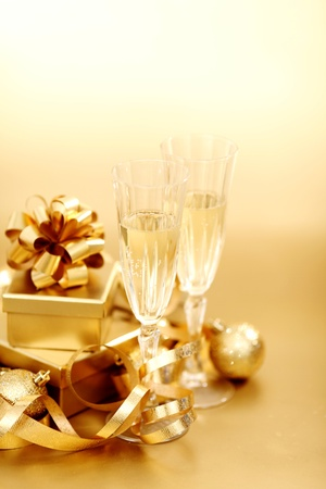 golden christmas background champagne gifts ball photo