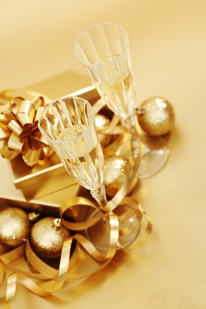 golden christmas background champagne gifts ball Stock Photo - 11138248