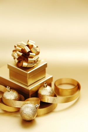 golden christmas background gifts ball photo