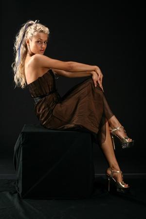 girl posing on black Stock Photo - 11143321