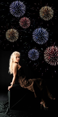 girl and Fireworks on black back photo