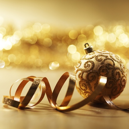 golden christmas card holiday background Stock Photo