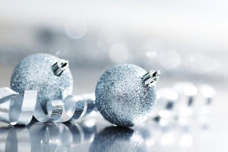 silver christmas ball macro close up Stock Photo - 11138254