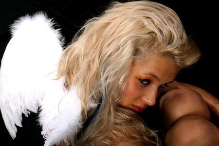 angel girl blondie and white wings photo
