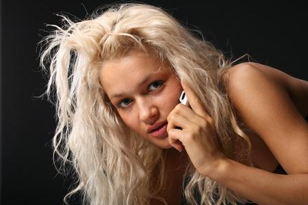 blondie: girl phone calls very beautiful blondie Stock Photo