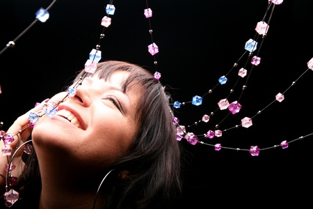gemstones: rijke model mooie meisje op zwart Stockfoto