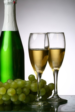 champagne grape and green bottle Stock Photo - 11213366
