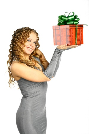 The girl with a gift in cheerfully box smiles new year Stock Photo - 11213149
