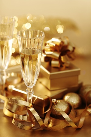 golden christmas background champagne gifts ball Stock Photo - 11211184